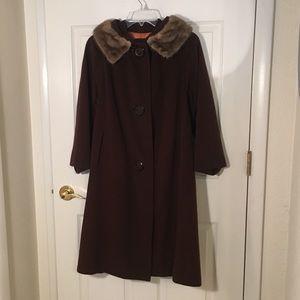 Vintage 1950's ladies fur collar brown swing coat